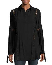 Dance And Marvel Woven Cutout Lace Tunic Black