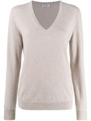 Brunello Cucinelli V Neck Knit Top Neutrals