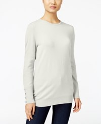 Jm Collection Crew Neck Button Cuff Sweater Only At Macy's Eggshell