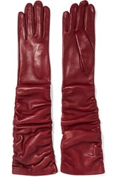Alexander Mcqueen Ruched Leather Gloves Burgundy