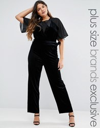 Truly You Velvet Jumpsuit With Mesh Insert Black