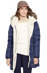 Lauren Ralph Lauren Women's Faux Fur Trim Down And Feather Fill Parka New Regal Navy