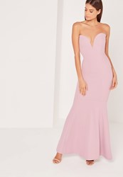Missguided Scuba Bandeau Fishtail Maxi Dress Purple Mauve