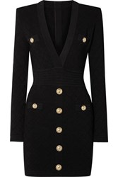 Balmain Button Embellished Stretch Jacquard Knit Mini Dress Black