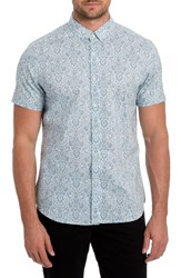 7 Diamonds Men's 'Noble Heart' Trim Fit Print Woven Shirt Mint