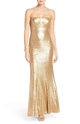 Lulus Women's Lulu's Strapless Sequin Mermaid Gown Matte Gold