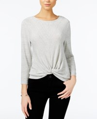 Bar Iii Three Quarter Sleeve Knot Detail Top Only At Macy's Light Grey Combo