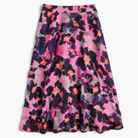 J.Crew Collection A Line Silk Twill Skirt In Watercolor Floral Iris