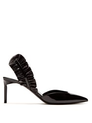 Saint Laurent Edie Ruffle Trimmed Patent Leather Pumps Black