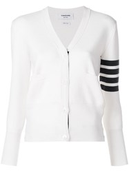 Thom Browne Milano Stitch V Neck Merino Cardigan White