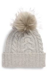 Halogen Cashmere Cable Knit Beanie With Faux Fur Pom Grey Grey Soft Heather