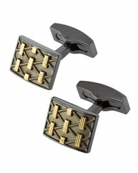 Hickey Freeman Two Tone Crisscross Bar Cuff Links Gunmetal Multi