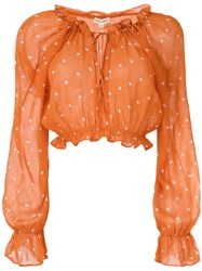 For Love And Lemons Cropped Polka Dot Blouse Yellow And Orange