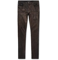 Amiri Skinny Fit Metallic Leopard Print Coated Stretch Denim Jeans