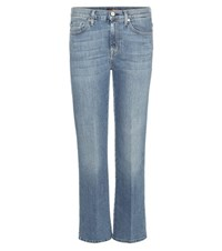 7 For All Mankind Cropped Boot Cut Jeans Blue