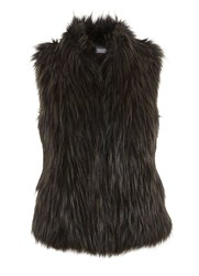 Mint Velvet Khaki Faux Fur Gilet Green