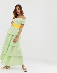 Warehouse X Shrimps Tiered Dress In Gingham Green