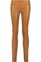Emilio Pucci Leather Skinny Pants Brown