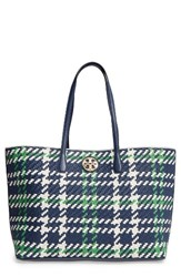 Tory Burch Duet Woven Leather Tote Blue Royal Nvy Crt Green New Ivry