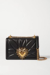 Dolce And Gabbana Devotion Mini Embellished Quilted Leather Shoulder Bag Black