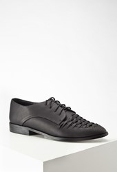 Forever 21 Interwoven Faux Leather Oxfords Black