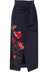 Mother Of Pearl Net Sustain And Bbc Earth Annabelle Wrap Effect Floral Print Organic Silk Skirt Navy
