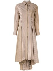 Brunello Cucinelli Striped Patchwork Dress Brown