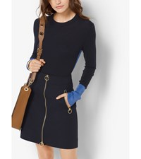 Two Tone Cotton Blend Sweater Oxford Blue