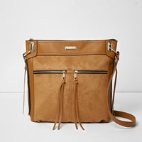 River Island Tan Zip Front Cross Body Messenger Bag