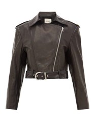Khaite Jennifer Silk Lined Leather Biker Jacket Black