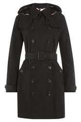 Burberry Brit Waterproof Trench Coat With Hood Black