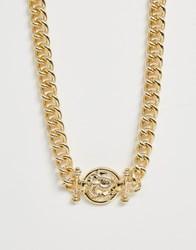 Reclaimed Vintage Chain Necklace With Medallion Style Pendant Gold