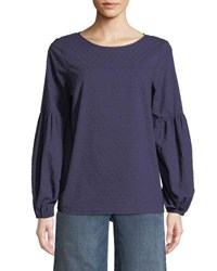 Kensie Embroidered Dot Balloon Sleeve Blouse Navy