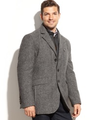 London Fog Lebanon Wool Blend Microsuede Bib Tweed Blazer Charcoal Herringbone