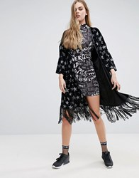 Jaded London Glitter Stars Velvet Kimono Black