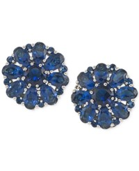 Carolee Silver Tone Blue Crystal Cluster Clip On Earrings
