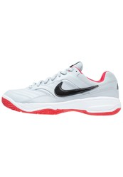 Nike Performance Court Lite Outdoor Tennis Shoes Wolf Grey Black University Red