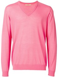 Nuur V Neck Jumper Pink And Purple