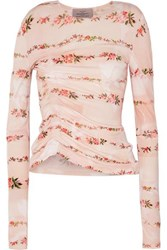 Preen By Thornton Bregazzi Misha Ruched Floral Print Stretch Crepe Top Pink
