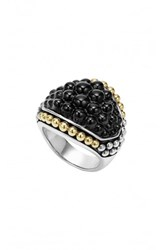 Lagos 'Black Caviar' Dome Ring Silver Gold Onyx