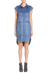 Leith Faux Suede High Low Shirtdress Navy Patriot