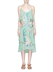 Temperley London 'Chimera' Bird And Floral Embroidered Ruffle Silk Dress Green Multi Colour