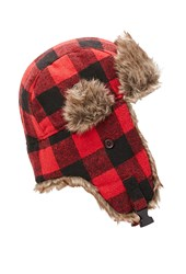 Forever 21 Faux Fur Trapper Hat Red Black