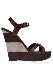 Burberry Whelan Cross Strap Leather Wedge Sandals