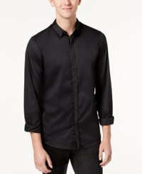 Guess Men's Miller Shirt With Faux Leather Trim Jet Black