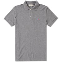 Maison Kitsune Tricolour Fox Polo Grey