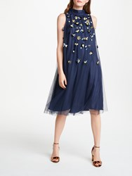 Bruce By Bruce Oldfield Embellished Pleat Dress Navy