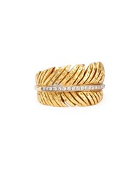 18K Feather Ring With Diamonds Michael Aram Gold