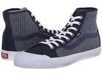 Vans Black Ball Hi Sf Chambray Stripes Dress Blues Men's Shoes Gray
