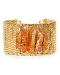 Panacea Golden Pyrite Twisted Cuff Bracelet Peach